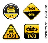 Taxi cab set buttons, group vector icons - stock vector