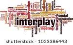 interplay word cloud concept.... | Shutterstock .eps vector #1023386443