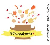 let's cook with love. vector...