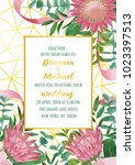 wedding invitation with protea... | Shutterstock .eps vector #1023397513