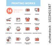 printing works   line design... | Shutterstock .eps vector #1023401587