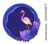 pink flamingo in tropical... | Shutterstock .eps vector #1023402877