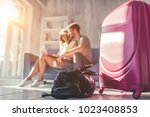young romantic couple is... | Shutterstock . vector #1023408853
