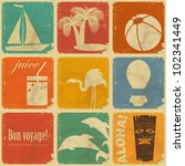 set of Vintage Travel Labels - Retro Signs with Grunge Effect - vector illustration - stock vector