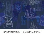 vector seamless pattern with... | Shutterstock .eps vector #1023425443