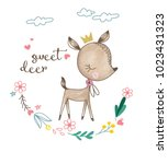 cute deer with flowers and... | Shutterstock .eps vector #1023431323