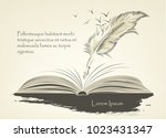 writing old feather paint with... | Shutterstock .eps vector #1023431347