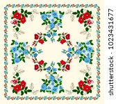Stock vector scarf floral print russian style millefleurs floral folk enchanting background for scarf print 1023431677