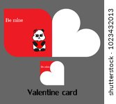 vector valentine card with panda | Shutterstock .eps vector #1023432013