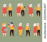 elder couple is making selfie... | Shutterstock .eps vector #1023441307