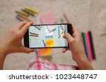 child take a photo of school... | Shutterstock . vector #1023448747