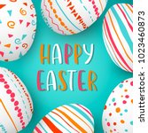 happy easter eggs frame with... | Shutterstock .eps vector #1023460873