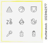 baby care line icon set diapers ... | Shutterstock .eps vector #1023462577