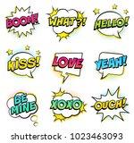 retro colorful comic speech... | Shutterstock .eps vector #1023463093