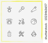 baby care line icon set rattles ... | Shutterstock .eps vector #1023463657