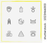 baby care line icon set baby... | Shutterstock .eps vector #1023466003