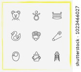 baby care line icon set rubber... | Shutterstock .eps vector #1023466027