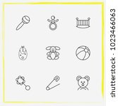 baby care line icon set rattles ... | Shutterstock .eps vector #1023466063