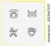 baby care line icon set beanbag ... | Shutterstock .eps vector #1023467137