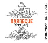 barbecue banners. bbq party... | Shutterstock .eps vector #1023472933