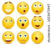 set of emoji. smileys vector... | Shutterstock .eps vector #1023473947