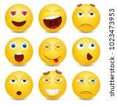set of emoji. smileys vector... | Shutterstock .eps vector #1023473953