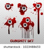 set of bullet holes with blood...