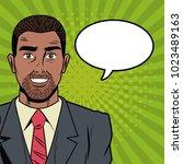 businessman with bubble pop art ... | Shutterstock .eps vector #1023489163