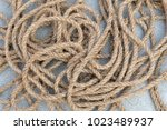 old brown nylon rope background | Shutterstock . vector #1023489937