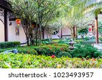 landscaped gardens with stone... | Shutterstock . vector #1023493957