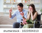 man making marriage proposal to ... | Shutterstock . vector #1023504313