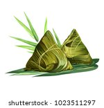 chinese rice dumplings  zongzi  ... | Shutterstock .eps vector #1023511297