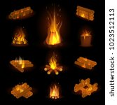 fire flame or firewood vector... | Shutterstock .eps vector #1023512113
