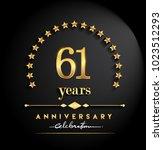 61 years anniversary... | Shutterstock .eps vector #1023512293