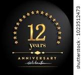 12 years anniversary... | Shutterstock .eps vector #1023512473