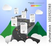 road way infographic template 5 ... | Shutterstock .eps vector #1023522583