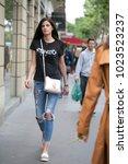 paris july 6  2016. street... | Shutterstock . vector #1023523237