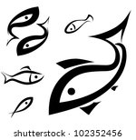 logo-like fish symbol set, sketch in simple black lines - stock vector