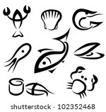 big set of sea food symbols, simple icons in black lines - stock vector
