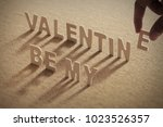 be myvalentine wood word on... | Shutterstock . vector #1023526357