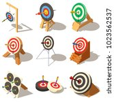 target with arrow icons set.... | Shutterstock .eps vector #1023562537