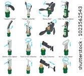 corkscrew types icons set.... | Shutterstock .eps vector #1023562543