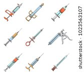 syringe needle injection icons... | Shutterstock .eps vector #1023563107