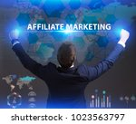 Small photo of The concept of business, technology, the Internet and the network. Young businessman showing inscription: Affiliate marketing