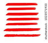 set of hand painted red brush... | Shutterstock .eps vector #1023571933