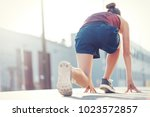 woman preparing for start  low...   Shutterstock . vector #1023572857