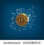 bitcoin digital currency golden ...   Shutterstock .eps vector #1023580513
