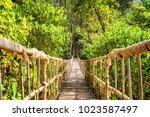 scenic simple suspension bridge ...   Shutterstock . vector #1023587497
