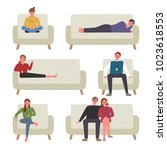 a variety of people sitting on...   Shutterstock .eps vector #1023618553
