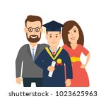 happy graduate student with... | Shutterstock .eps vector #1023625963